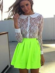 cheap -Women's Fluorescent Green Skater Pleated Short Skirt