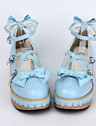 cheap -Lolita Shoes Sweet Lolita Dress Sweet Lolita Wedge Wedge Heel Shoes Bowknot 5 cm CM Blue / Pink For PU Leather / Polyurethane Leather Polyurethane Leather Halloween Costumes