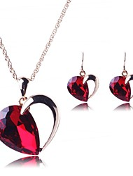 Jewelry Set Women's Party Jewelry Sets Alloy Crystal Necklaces / Earrings Gold