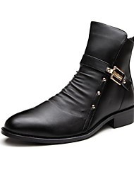Men's Boots Spring Summer Fall Winter Comfort Leather Casual Low Heel Zipper Black