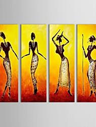 Handgemalte Menschen Vier Panele Leinwand Hang-Ölgemälde For Haus Dekoration