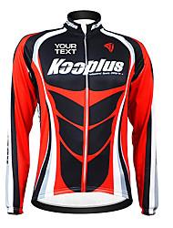 Kooplus Cycling Jersey Men's Women's Unisex Long Sleeves Bike Jersey Top Thermal / Warm Windproof Fleece Lining Waterproof Zipper