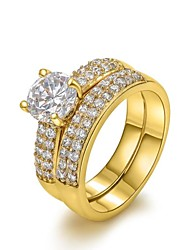 cheap -Women's Statement Ring - Crystal, Gold Plated, Imitation Diamond Birthstones 6 / 7 / 8 Silver / Golden For Wedding / Party / Daily / Cubic Zirconia