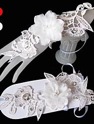 abordables -guantes de novia de la longitud de la muñeca de tul guantes de novia estilo femenino clásico