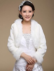 cheap -Long Sleeves Faux Fur Wedding Party Evening Fur Wraps Wedding  Wraps Coats / Jackets