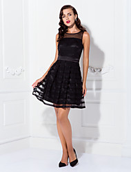 A-Line Bateau Neck Short / Mini Tulle Stretch Satin Cocktail Party Homecoming Prom Holiday Dress with Ruffles Pleats by TS Couture®