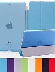 billiga -natusun ™ smal smarta mjukt PU läder täcka hård genomskinlig plastskal för iPad 3 (blandade färger)