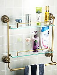 Недорогие -двойные полки для ванной комнаты, античная латунь цвет алюминиевый материал, вспомогательное оборудование ванной комнаты