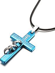 Bible Crucifix Cross Three Ring Zinc Alloy Men's Pendant Necklace(Random Size)