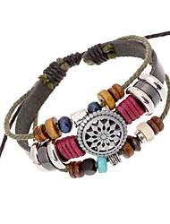 leather Charm BraceletsZ&X®  Vintage Punk Beads Combination Handmade Leather Strand Bracelets Christmas Gifts