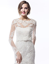 Wedding  Wraps Coats/Jackets Long Sleeves Lace Wedding Scoop Lace Sleeves Appliques Lace-up No