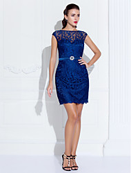 cheap -Sheath / Column Illusion Neck Short / Mini Lace Cocktail Party Dress with Crystals by TS Couture®