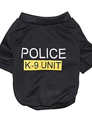 Cat Dog Shirt / T-Shirt Dog Clothes Fashion Letter & Number Police/Military Black Costume For Pets