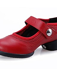 billige -Damer Dansesko Læder Sneaker Lave hæle Sort Rød 3,5 cm Kan ikke tilpasses