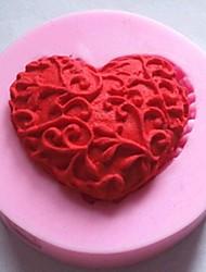 em forma de coração ferramentas fondant bolo de chocolate bolo de silicone molde de decoração, l4.8cm * w4.8cm * h1.2cm