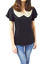 T-shirt Da donna Casual Semplice Per tutte le stagioni,Collage Colletto alla Peter Pan Bianco / Nero Manica corta Sottile