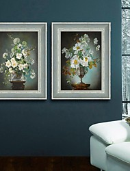 baratos -Floral/Botânico / Natureza Morta Quadros Emoldurados / Conjunto Emoldurado Wall Art,PVC Azul Escuro Sem Cartolina de Passepartoutcom