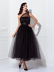 preiswerte -A-Linie Ein-Schulter Knöchel-Länge Tüll Kleines Schwarzes Kleid / See Through / Vintage Inspirationen Cocktailparty / Formeller Abend Kleid mit Schärpe / Band / Plissee durch TS Couture®