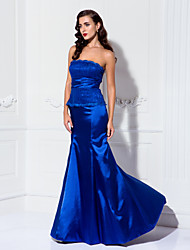Mermaid / Trumpet Strapless Floor Length Lace Stretch Satin Formal Evening Military Ball Dress with Ruching by TS Couture®