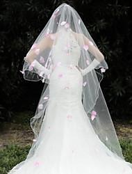 economico -1 strato Bordo ricamato Veli da sposa Accessori per capelli con velo Con Lustrini 110,24 in (280 centimetri) Organza
