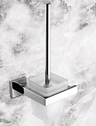 cheap -1pc High Quality Contemporary Stainless Steel Ceramic Toilet Brush Holder