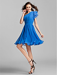 cheap -A-Line Princess One Shoulder Knee Length Georgette Bridesmaid Dress with Ruched Side Draping by LAN TING BRIDE®