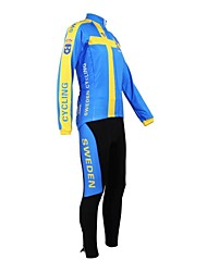 Kooplus Cycling Jersey with Tights Men's Women's Unisex Long Sleeves Bike Jersey Clothing Suits Waterproof Zipper Wearable Breathable