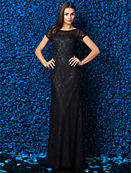 cheap -Sheath / Column Jewel Neck Floor Length Lace Prom Formal Evening Black Tie Gala Dress with Lace by TS Couture®