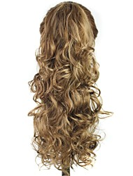 cheap -Claw Clip Synthetic 20 Inch Brown Long Curly Ponytail
