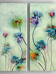 pittura a olio moderna insieme fiore astratto di 2 mano tela dipinta con tesa incorniciato