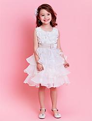 economico -Vestito dalla ragazza del fiore di lunghezza del ginocchio dell'abito di sfera - collo di gioiello sleeveless del organza con la perla