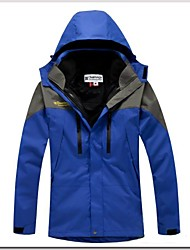 Men's Ski Jacket Outdoor Winter Waterproof Thermal / Warm Windproof Detachable Cap Detachable Fleece Windbreaker 3-in-1 Jacket Winter