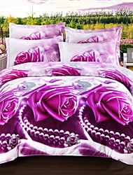 cheap -3D Duvet Cover Sets 4 Piece Polyester 3D Reactive Print Polyester Full 4pcs (1 Duvet Cover 1 Flat Sheet 2 Shams)