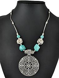 mode en argent plaqué millésime creuser sculpture fleur collier turquoise