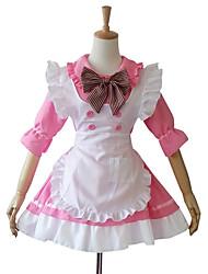 baratos -Uma-Peça/Vestidos Ternos de Empregadas Doce Lolita Cosplay Vestidos Lolita Patchwork Comprimento Curto Vestido Avental Para Algodão