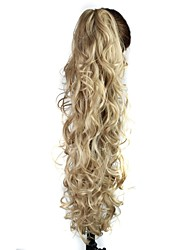 cheap -Claw Clip Synthetic 28 Inch Light Ash Blonde Long Curly Ponytail