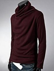 Masculino Camiseta Algodão Cor Solida Manga Comprida Casual-Preto / Vermelho / Branco / Cinza