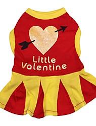 abordables -Chat Chien Robe Vêtements pour Chien Cœur Rouge Coton Costume Pour les animaux domestiques