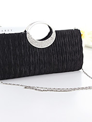Women Bags Silk Evening Bag Crystal/ Rhinestone for Event/Party White Black Fuchsia