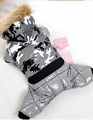 Dog Coat Hoodie Red Orange Blue Purple Black Pink Dog Clothes Winter Spring/Fall Plaid/Check Keep Warm Windproof