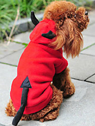 Cat / Dog Costume / Hoodie Red Dog Clothes Winter / Spring/Fall Angel & Devil Cute / Christmas / New Year's
