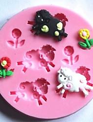ovce i cvijeće Fondant kolač silikonska kalupa tortu ukras alati, l7.7cm * w7.7cm * h1cm