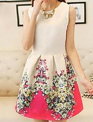 baratos -colete sem mangas das mulheres assentamento retro vestido de flores de impressão