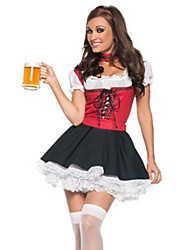 cheap -Cosplay Costumes / Party Costume Sweet Beer Girl Red and Black Women's Costume(free size)for Carnival