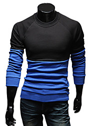 Tizeland Mænds All-Match Lange ærmer kontrast farve T-Shirt