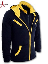 economico -MANWAN WALK®Men's Fashion Hit Color Double Zipper Hoodie.,Plus Size(4XL)
