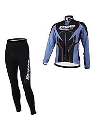 Kooplus Fahrradtrikots mit Fahrradhosen Herrn Damen Unisex Langarm Fahhrad Kleidungs-Sets warm halten Wasserdichter Reißverschluß tragbar
