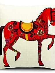 vívida cavalo vermelho de algodão / linho fronha decorativo