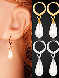 cheap -Women's 1 Drop Earrings Imitation Pearl Imitation Pearl Plated Silver Alloy Drops Jewelry Costume Jewelry