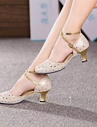 billige -Dame Moderne dansesko Læder Sandaler Spænde Cubanske hæle Kan ikke tilpasses Dansesko Gyldent / Rosa / Lyseblå